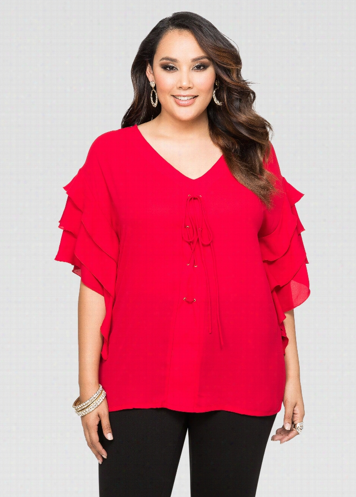 Ruffle Sleeve Lace-Up Blouse
