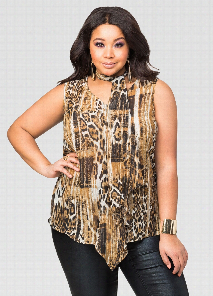 Sheer Animal Tie Neck Blouse