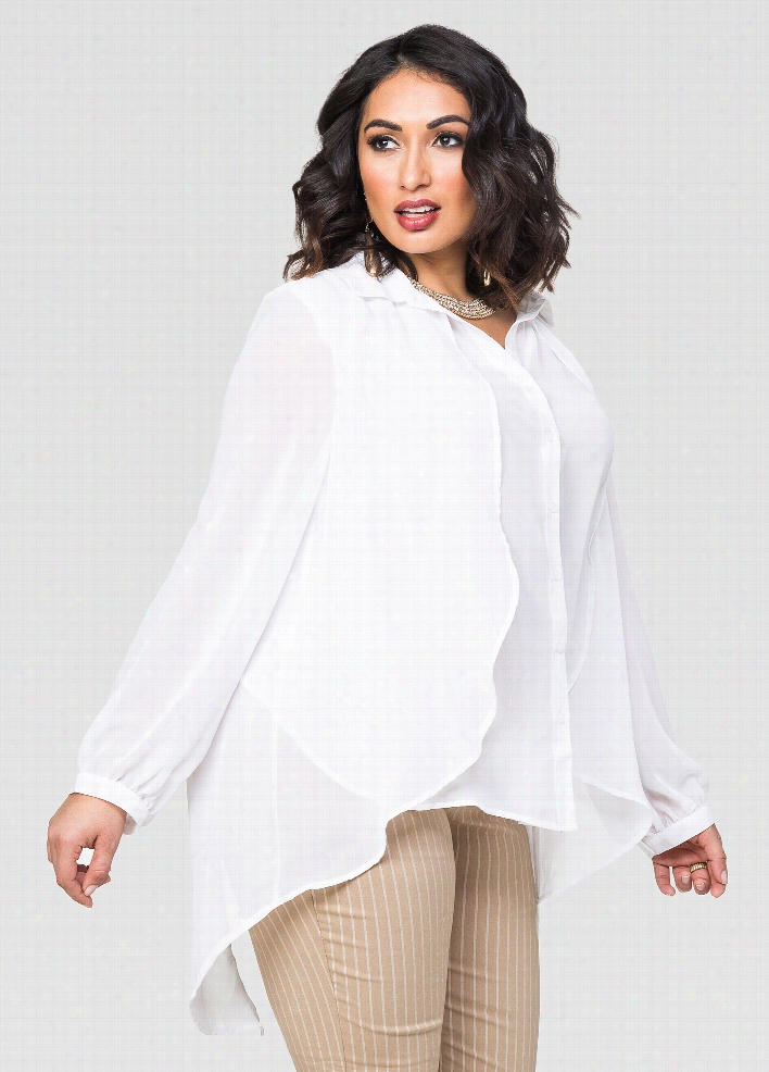Sheer Double Layer Ruffle Hi-Lo Blouse