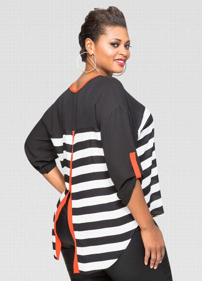 Sheer Striped Button Back Tee