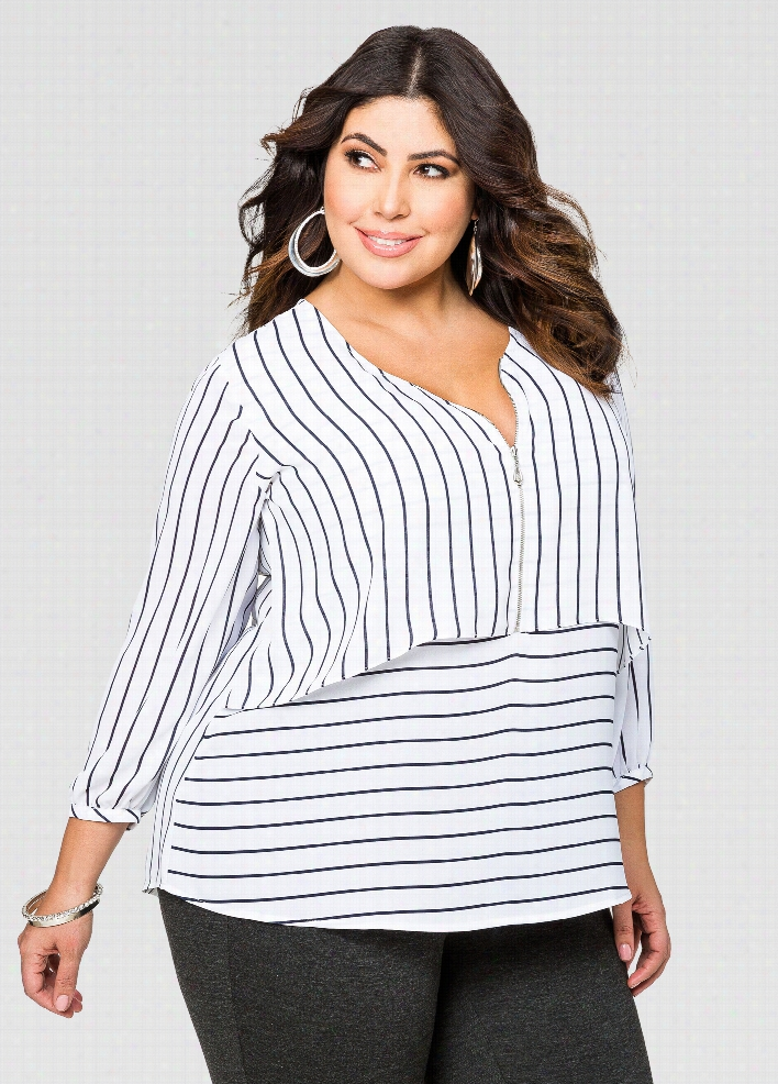 Striped Double Layer Zip Front Blouse