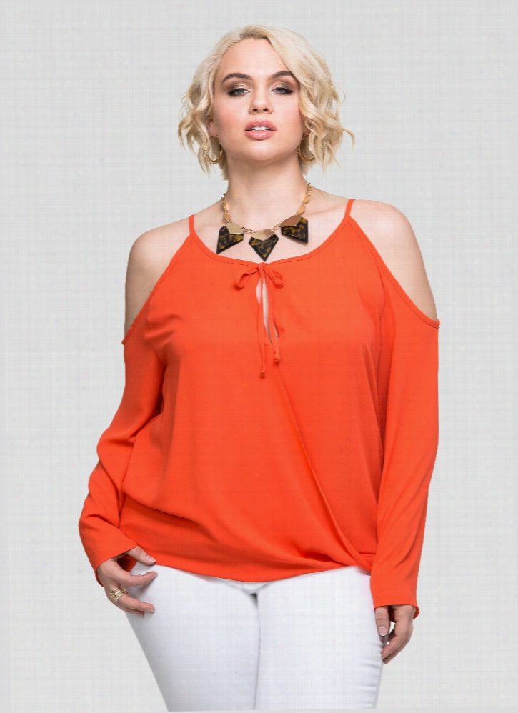 Surplice Cold Shoulder Blouse