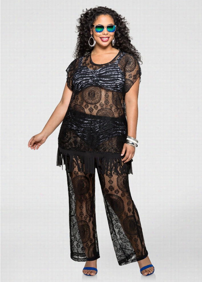 Swim Cover-Up Lace Pull On Pant