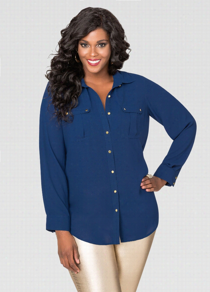 Two Pocket Crepe Blouse
