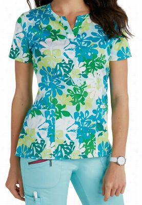 Beyond Scrubs Seaflowers Pool print scrub top. - Seaflowers Pool - XL