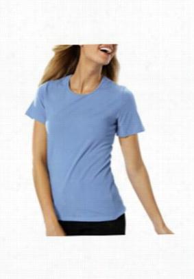 Blue Generation ladies short sleeve jewel neck tee. - Light Blue - 2X