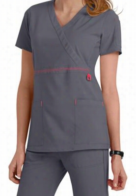 Carhartt CROSS-FLEX Made to Move wrap scrub top - Pewter/Coral - S