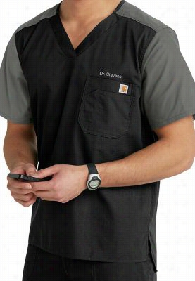 Carhartt mens contrast v-neck scrub top. - Black/pewter - XS