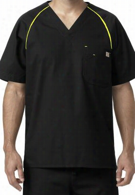 Carhartt mens v-neck raglan sleeve scrub top. - Black/ Lime Punch - S