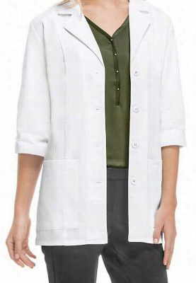 Cherokee 3/4 sleeve lab coat with Certainty Plus. - White - 4X