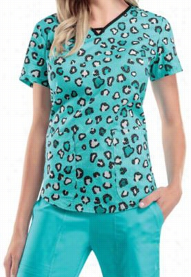 Cherokee Runway Wild About Lace keyhole neckline print scrub top. - Wild About Lace - S