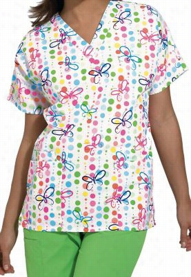 Cherokee Scrub HQ Butterfly Dots print v-neck scrub top. - Butterfly Dots - M