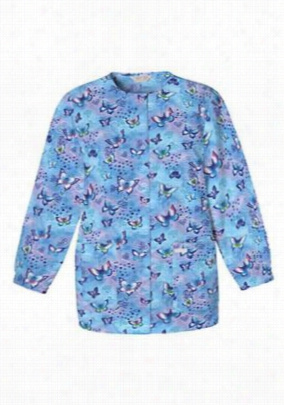 Cherokee Scrub HQ Fly by Night print scrub jacket. - Fly By Night - XS