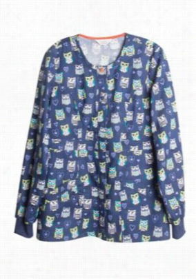 Code Happy Hoo Has Your Heart print scrub jacket with Certainty. - Hoos Has Your Heart - L