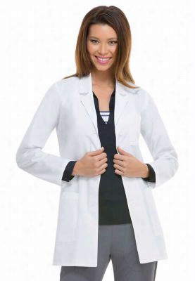 Dickies Professional Whites with Certainty Plus 32 inch notched collar lab coat. - White - S