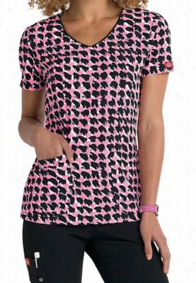 Dickies Xtreme Stretch Paint It Lovely v-neck print scrub top. - Paint It Lovely - M