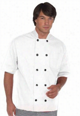 Fame short sleeve 10 button chef coat. - White - XS