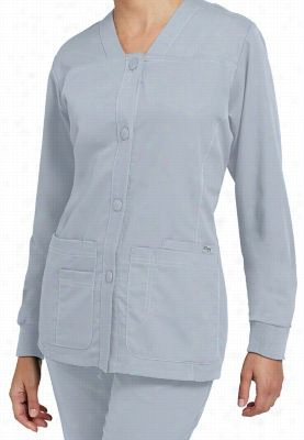 Greys Anatomy button-front v-neck scrub jacket. - Moonstruck - 5X