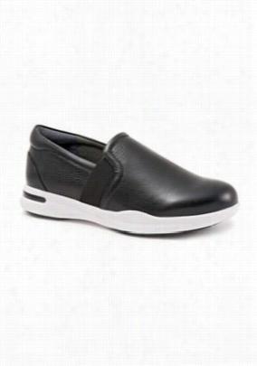 Greys Anatomy by Softwalk Vantage black tumbled leather slip-on shoe. - Black Tumbled - 6