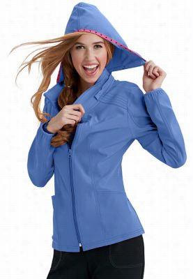 HeartSoul In Da Hood zip front hoodie scrub jacket. - Ceil - XS