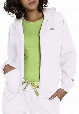 IguanaMed zip-front hooded scrub jacket. - Winter White - 2X