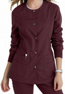 Landau for Women prewashed button front scrub jacket. - Wine - L