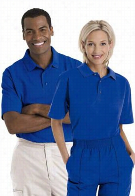 Landau short sleeve unisex knit polo. - Royal - M