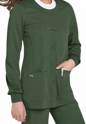 NrG by Barco round neck scrub jacket. - Eucalyptus - L
