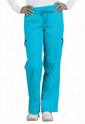Peaches Comfort enzyme washed knit waist cargo scrub pants. - Ocean - PXS