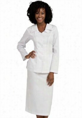Peaches Double Collar Cross Skirt Suit. - White - 20