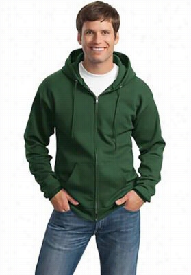 Port Authority full zipper hoodie. - Dark Green - L