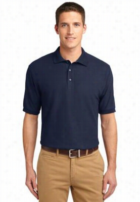 Port Authority Mens Silk Touch short sleeve polo. - Classic Navy - L