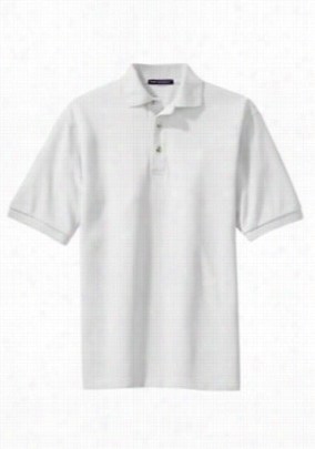 Port Authority pique knit short sleeve polo top. - White - XS