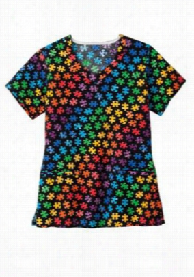 Trust Your Journey Pieces of the Puzzle print scrub top. - Pieces of the Puzzle - S