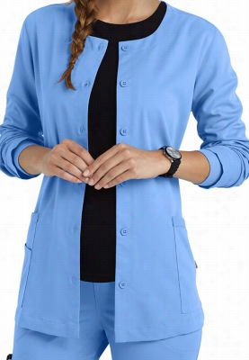 Urbane Ultimate button front scrub jacket. - Ceil - M