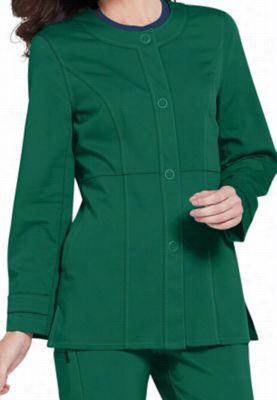 Urbane Ultimate Mindi snap-front scrub jacket. - Hunter - S