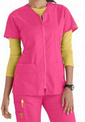 WonderWink Origins Kilo Zip Front v-neck scrub jacket. - Hot pink - M