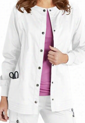 Beyond Scrubs Erin snap front scrub jacket. - White - S