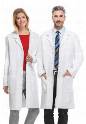 Cherokee 40 inch unisex lab coat with Certainty Plus. - White - XS