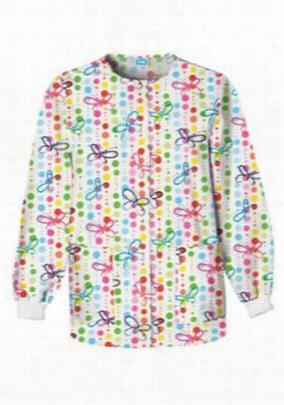 Cherokee Scrub HQ Butterfly Dots print scrub jacket. - Butterfly Dots - XS