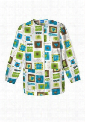 Cherokee Scrub HQ Victorian Hearts print scrub jacket. - Victorian Hearts - M