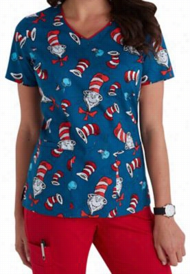 Cherokee Tooniforms Hat Toss print scrub top. - Hat Toss - L