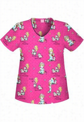 Cherokee Tooniforms Purr-fect Friendship print scrub top. - Purr-fect Friendship - XS