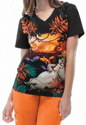 Cherokee Tooniforms The Jungle Book print scrub top. - The Jungle Book - XS