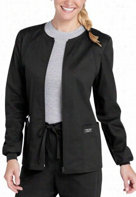 Cherokee Workwear Core Stretch scrub jacket. - Black - L