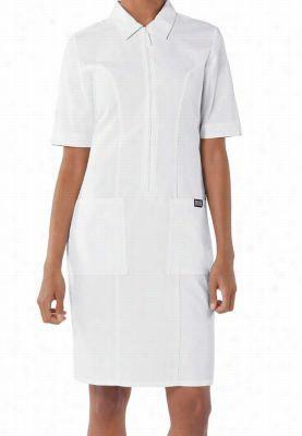 Cherokee Workwear zip front scrub dress. - White - 3X