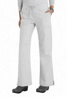 Code Happy basic drawstring scrub pants with Certainty. - White - L