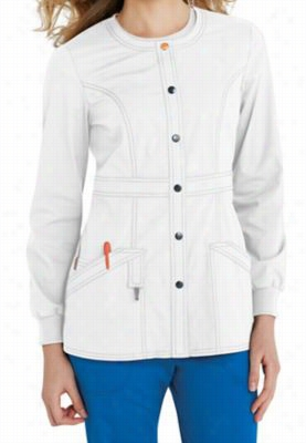 Code Happy basic scrub jacket with Certainty. - White - 4X
