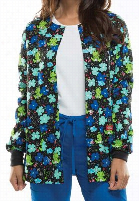 Dickies EDS Froggy Floral print scrub jacket. - Froggy Floral - XL