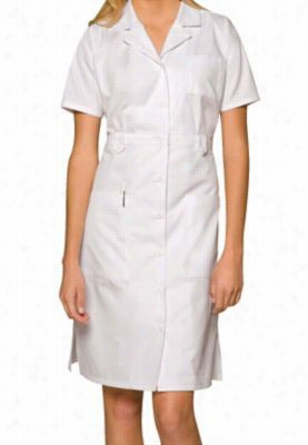 Dickies Professional Whites women's short sleeve button front dress. - White - M
